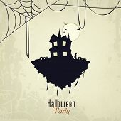 Happy Helloween night party celebration with haunted house, scary flying bad and spider web on grung