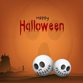 Happy Halloween poster, banner or flyer design with skull and haunted house on orange background for
