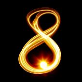 Eight - Created by light numerals over black background
