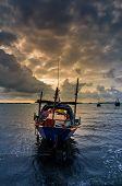Fishing Sea Boat And Sunrise