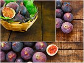 Collage Of Ripe Purple Figs
