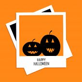 Instant photo with two pumpkins. Happy Halloween card. Flat design.