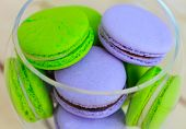 Macarons Close-up In Glass Bowl