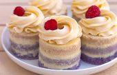 stock photo of buffet  - Delicious sweet buffet with cupcakes on the plate - JPG
