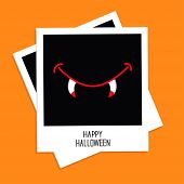 Instant Photo With Vampire Mouth Fangs. Happy Halloween Card. Flat Design