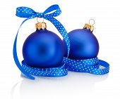 Two Blue Christmas Ball With Ribbon Bow Isolated On White Background