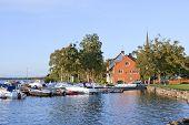 VADSTENA, SWEDEN ON SEPTEMBER 08. Harbor and boardwalk.