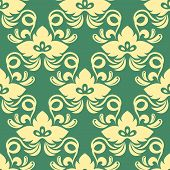 Yellow on green seamless floral pattern
