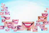 smiling collage - healthy teeth and smile