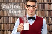 Concept, coffee time, smiling male student with hot coffee