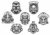stock photo of religious  - Religious masks in ancient tribal style isolated on white for religious - JPG