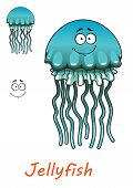 Cartoon underwater jellyfish