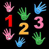 Kids Counting Indicates One Two Three And Number