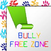 Bully Free Zone Indicates School Bullying And Assistance