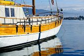 Vintage sailing vessel at anchor