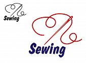image of tailoring  - Needlework or sewing symbol with needle and thread for sewing - JPG