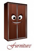 picture of armoire  - Cute cartoon smiling wardrobe character for furniture and interior design - JPG