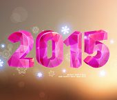 Happy New Year 2015 Greeting Card. Soft Blurred Abstract Background. Glow Snowflakes. For Party Post