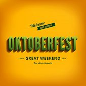 Octoberfest festival typography vintage retro style vector design poster template. Creative 3d typo font Oktoberfest typographic menu bannerPrint