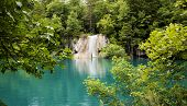 Summer view of beautiful small waterfalls in Plitvice Lakes National Park, Croatia