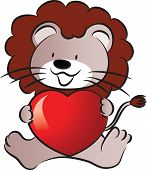 lion holding a heart shape
