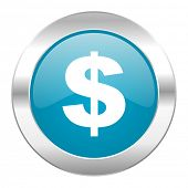 dollar internet blue icon