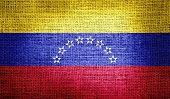 Venezuela flag on burlap fabric