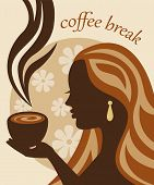 female silhouette with a cup of coffee in hand
