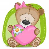 picture of teddy  - Valentine card with teddy bear girl on a green - JPG