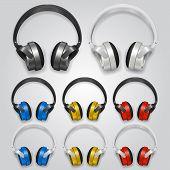 Headphones set color. Vector