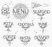 pic of pasta  - Menu in vintage modern style lines drawn with symbols pizza - JPG