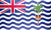 stock photo of indian flag  - British Indian Ocean Territory flag on metallic metal texture - JPG