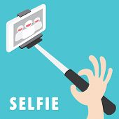 image of selfie  - Taking a self portrait with monopod Tool For Smartphone Vector Illustration - JPG