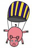Parachuting pig doodle