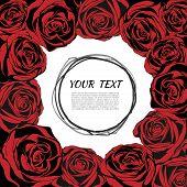 Red Elegant Frame With Roses. Floral Background