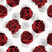 Seamless Floral Pattern. Rose Red Background