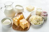 picture of milk products  - Assortment Of Dairy Products On The White Background - JPG