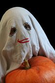 picture of jack-o-laterns-jack-o-latern  - Little ghost and pumpkin - JPG