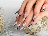 pic of nail-design  - Female hands with beauty art design nails - JPG
