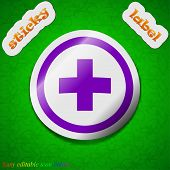 Plus Icon Sign. Symbol Chic Colored Sticky Label On Green Background. Vector