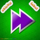 Multimedia Control Icon Sign. Symbol Chic Colored Sticky Label On Green Background. Vector