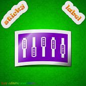 Dj Console Mix Handles And Buttons Icon Sign. Symbol Chic Colored Sticky Label On Green Background.