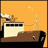 stock photo of shipbuilding  - Stylized vector illustration on the theme of shipbuilding transport freight etc - JPG