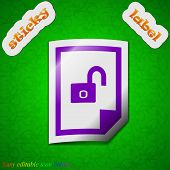 File Unlocked Icon Sign. Symbol Chic Colored Sticky Label On Green Background. Vector
