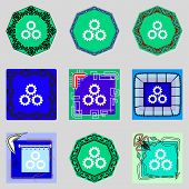 Cog Settings Sign Icon. Cogwheel Gear Mechanism Symbol. Set Colourful Buttons. Vector