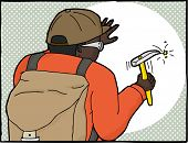 Frame Of Geologist Using Hammer