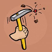 image of chisel  - Close up cartoon of hand using a chisel - JPG