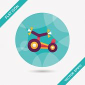 picture of tricycle  - Kids Tricycle Flat Icon With Long Shadow - JPG