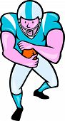 foto of scat  - Illustration of an american football gridiron player running back with ball facing front fending set on isolated white background done in cartoon style - JPG