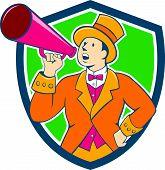 Circus Ringmaster Bullhorn Crest Cartoon